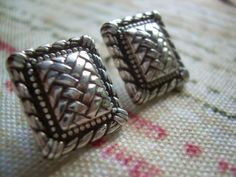Vintage Retired Brighton Pierced earrings in a $38.00 These are a lovely pair of Vintage Retired Brighton Pierced earrings in a rectangular braided style weave, very classy, In great condition, these come with the backings