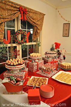 christmas buffet table decorations - Google Search