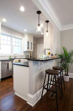 Best small kitchen remodel before and after layout apartment therapy Ideas Kitchen Island Bar, Kitchen Peninsula, New Kitchen, Kitchen Ideas, Kitchen Decor, Ranch Kitchen, Half Wall Kitchen, Island Sinks, 1960s Kitchen