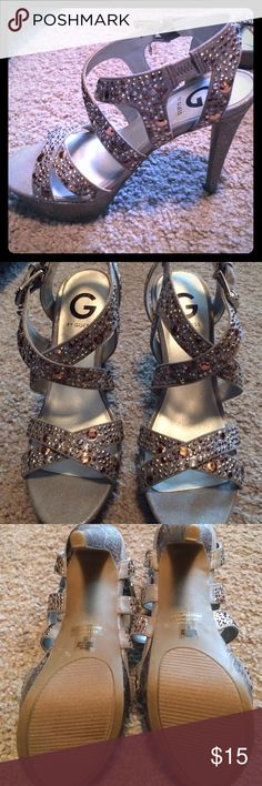 """Guess jewel heels. Size 6. Excellent condition. Worn once for an event. Heels to talk for me. 5"""" heel. Guess brand. GUESS Shoes Heels"""