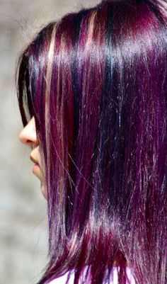 Purple violet black blonde hair