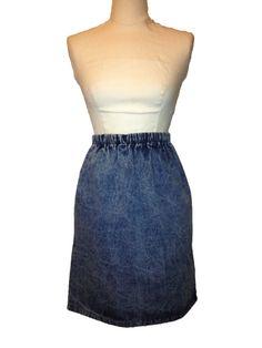 Denim Skirt with Pocket and Elastic Waist by DIYstylist on Etsy, $14.99