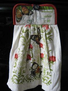 Hand towel pot holder combo Country kitchen Butterflies