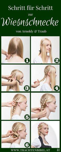 Die Haarschnecke ist eine klassische Dirndlfrisur. Klicken Sie hier und finden Sie eine einfache Schritt für Schritt Anleitung für eine moderne Variante - die Wiesnschnecke!
