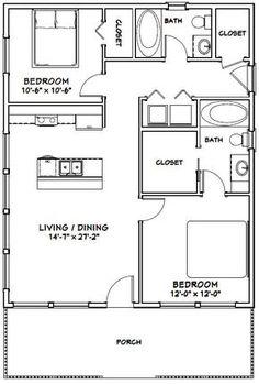 apartment floor plans Details about House -- 2 Bedroom 2 Bath -- PDF Floor Plan -- 768 sq ft -- Model The Plan, How To Plan, Small House Floor Plans, Cabin Floor Plans, Small House Plans Under 1000 Sq Ft, Small Home Plans, Tiny Cabin Plans, Cob House Plans, 20x40 House Plans