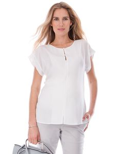 Soft woven fabric   Invisible zipper front for breastfeeding   Adjustable neckline   Anti-crease fabric   Short sleeves    Chic, lightweight & crease-resistant with easy access for breastfeeding, our Invisible Zipper Nursing Top is a must-have for a new mama! The ultra-light woven fabric drapes beautifully over your curves, offering a relaxed easy fit before, during & after pregnancy. An invisible zipper runs down the front of the style, offering easy access for nursing, and allowin...