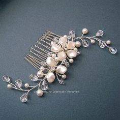 Ivory Swarovski Pearl Floral Bridal Hair Comb   by eminjewelry, $48.00
