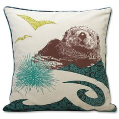 Otter Appliqued Pillow Cover [CSO18W] - $25.95 : Fair Trade Gifts | Seven Hopes United, Fair Trade Market of the World #FairTuesday
