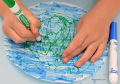 This coffee filter planet Earth craft is a great Earth Day craft.