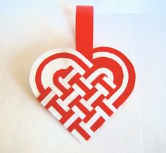 Danish Woven Heart Decoration or Christmas by GreatDanePaperShop, $15.00