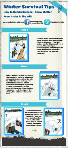 How to Build a Quinzee snow shelter – Infographic - Preparing For SHTF Survival Shelter, Survival Food, Wilderness Survival, Camping Survival, Outdoor Survival, Survival Prepping, Survival Skills, Apocalypse Survival, Zombie Apocalypse