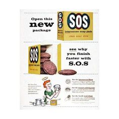 1959 SOS Cleaning Pads Classic Vintage Print Ad found on Polyvore