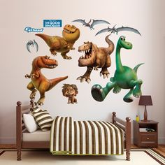 THE GOOD DINOSAUR WALL STICKER D SMASHED BEDROOM BOYS GIRLS - 3d dinosaur wall decals
