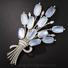 Large Scale Vintage Moonstone Sapphire and Diamond Spray Brooch