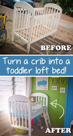 20 Creative Furniture Hacks :: Repurpose that old crib and easily turn it into a toddler bed! - Home Decor Diy Cheap Baby Crib Diy, Baby Cribs, Baby Bedding, Furniture Makeover, Diy Furniture, Antique Furniture, Repurposed Furniture, Street Furniture, Rustic Furniture