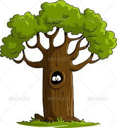 A tree with eyes in the hollow. Isolated object. No transparency and gradients used. JPG and EPS vector files.