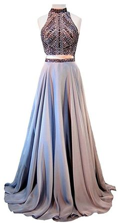 Halter Crystals Sequins Beaded Open Back Two Pieces Long Prom Dress