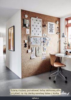 Korkowa ściana - Ścianę możesz pomalować farbą tablicową albo przykleić na nią cienką warstwę listew z korka.