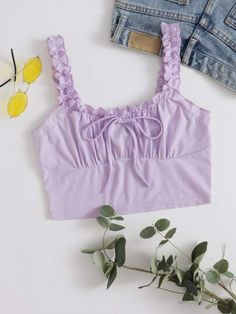 Snag this cute lavender crop top with frills and front tie for only $6, Cheap Crop Tops, Cute Crop Tops, Cropped Tops, Boho Tops, Purple Crop Top, Babe, Crop Tops Online, Plus Size Women's Tops, Plus Size Intimates