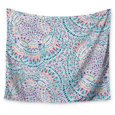 "Aqua Abstract Miranda Mol Kaleidoscopic White Wall Tapestry (51""x60"") - Kess InHouse, Aqua Chrome"