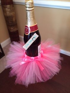 Pretty In Pink Wine Bottle Tutu. Dress up Baby Shower Table or Bridal Shower Tables with these Bottle Tutu. Sparking Cider Gender Reveal on Etsy, $13.50
