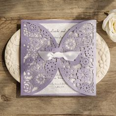 An utterly romantic and naturally relaxing color, lavender is a soft, versatile shade that pairs well with almost any combination and are perfect for a spring or summer wedding celebration, be it casual or extravagant.Shop the lavender laser cut invitation collection from ElegantWeddingInvites.Invitation Card Dimensions:5.90 x 5.90 in (w x h)Response Card Dimensions:3.937 x 3.937 in (w x h)Reception Card Dimensions:3.937 x 3.937 in (w x h)Thank You Note:3.937 x 3.937 in (w x h)Outer…