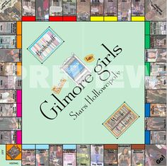 This Gilmore Girls monopoly set includes all of your favorite locations, characters, and events in Stars Hollow! This easy to make kit comes with a printable game board, character pieces, property deeds, house and hotel pieces, money (with your favorite town characters on it), and