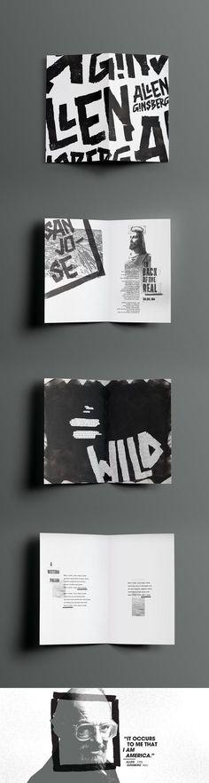 graphic typography and layout Ginsberg Zine on Behance Web Design, Website Design, Website Layout, Editorial Design, Editorial Layout, Design Typography, Branding Design, Lettering, Logo Design
