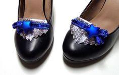 Statement Silber Loafer Blau Stern Schlange Schuhschmuck Pumps Schuhclips Clips