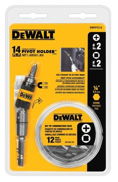 DeWalt DWPVTC14 Pivot Holder Screwdriver Bit Set, 14 Piece