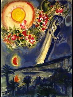 """artist-chagall: """" Lovers in the sky of Nice via Marc Chagall Size: 71x50.8 cm Medium: lithography on paper"""""""