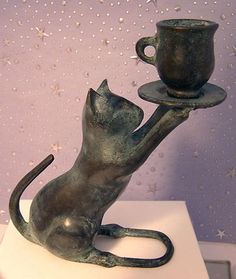 BLACK CAT CANDLE HOLDER, Iron,