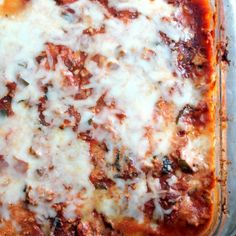 Low carb zucchini lasagna with spicy turkey meat sauce! SO good!