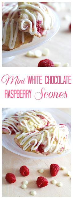 Mini White Chocolate Raspberry Scones are filled with melted white chocolate chips, sweet raspberries, and drizzled with vanilla icing.