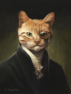 Cat Lover Gifts, Cat Lovers, Arte Peculiar, Ginger Cats, Pet Clothes, Animals In Clothes, Photomontage, Bird Prints, Cat Art