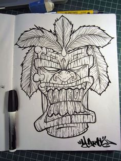 Tiki Sketch by MFMugen on DeviantArt Tattoo Drawings, Body Art Tattoos, Art Drawings, Tiki Maske, Biomech Tattoo, Tiki Tattoo, Tiki Head, Mask Drawing, Tiki Totem