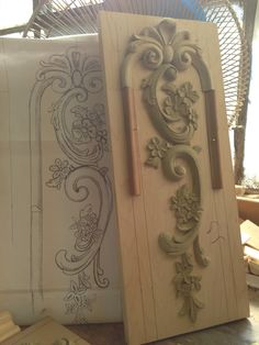 Boiserie. New hand carved pilaster design near complete. A few changes & design tweaks still being made...  Auffrance.com
