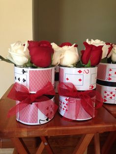 Casino party theme flowers are an easy decor idea for a Valentine's Day Party!