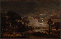 Aert van der Neer - Moonlit Landscape with a View of the New Amstel River and Castle Kostverloren
