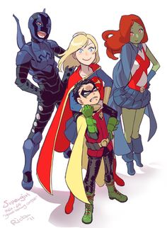 Supergirl, Robin Damian Wayne, Blue Beetle and Miss Martian by Ricken