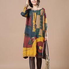 Women Print retro long sleeve dress