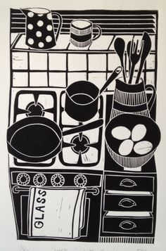 cooking with eggs lino print © jan brewerton  www.janbrewerton.......