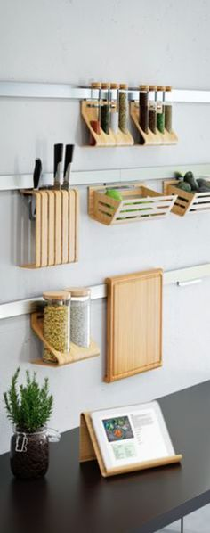 Wall Ledges for Wooden Kitchen Accessories - Tap the link to shop on our officia. - Wall Ledges for Wooden Kitchen Accessories – Tap the link to shop on our official online store! Small Kitchen Organization, Small Kitchen Storage, Home Organization, Small Storage, Creative Storage, Garage Storage, Ikea Small Kitchen, Kitchen Organizers, Spice Storage