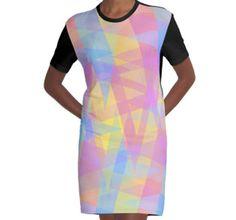 Graphic T-Shirt Dress Triangle Jumble design by Shawna Rowe #geometric #fashion #pastel #apparel #clothing #cute