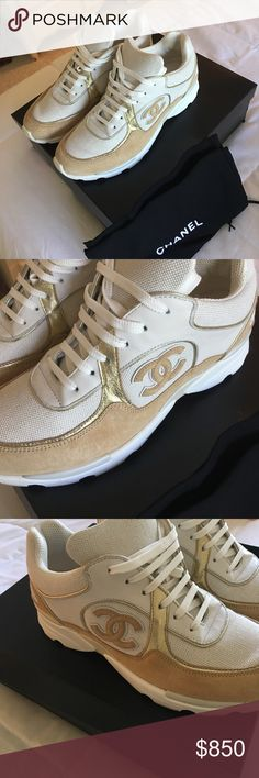 Women's Chanel Sneakers New Beautiful Chanel White and Gold Sneakers Size 37. These have only been tried on. So hard for me to part with these. Paid 1,400.00 CHANEL Shoes Sneakers