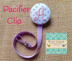 A thru Z Purple Dot Monogrammed Paci Clip. by busylizzieboutique, $7.95