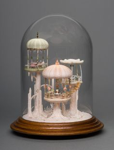 """cupcakes-and-lithium: """"kirakiraclub: """"This piece of art made by Peter Gabel """"Miniature Mermaid House"""" it's the most beutiful thing I've seen in a while. The Bell Jar, Bell Jars, Mini Things, Seashell Crafts, Shell Art, Miniature Houses, Miniature Dolls, Miniture Things, Fairy Houses"""