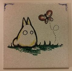 Chibi Totoro  on 8x8 ceramic tile with wall by ScribbleSketches, $15.00