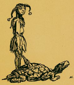 TitleL: Die Schildkröte als Tragtier  Mediumwoodblock  BookAlfred Kubin. Ein Bilder: ABC. Hamburg : Maximilian-Gesellschaft, E.V., 1948.  NotesL: The tortoise as beast of burden. Note the prevalence of the fool in Kubin's abecedarium.  ThemeThe Grotesque