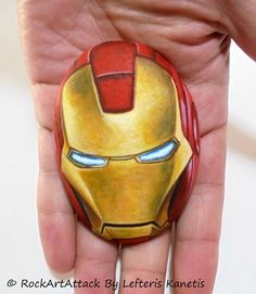 Stone Painting Iron Man Mask Marvel Super Hero by RockArtAttack - Visit to grab an amazing super hero shirt now on sale!